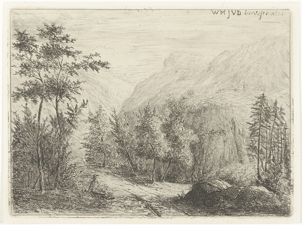 Berglandschap met rustende figuur langs weg