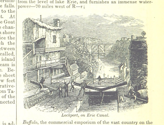 """Erie Canal from """"[A System of Geography, for the use of Schools. Illustrated with more than fifty cerographic maps, and numerous wood-cut engravings.]"""""""