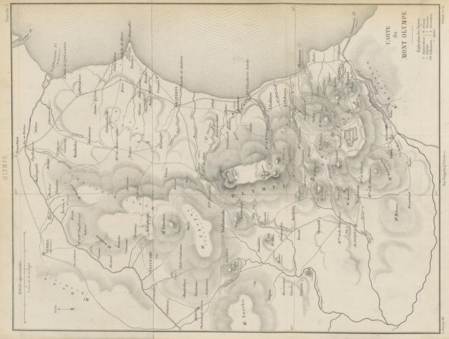 """map from """"Le Mont Olympe et l'Acarnanie, exploration de ces deux régions, avec l'étude de leurs antiquités, de leurs populations anciennes et modernes, de leur géographie et de leur histoire, ouvrage accompagné de planches, etc"""""""