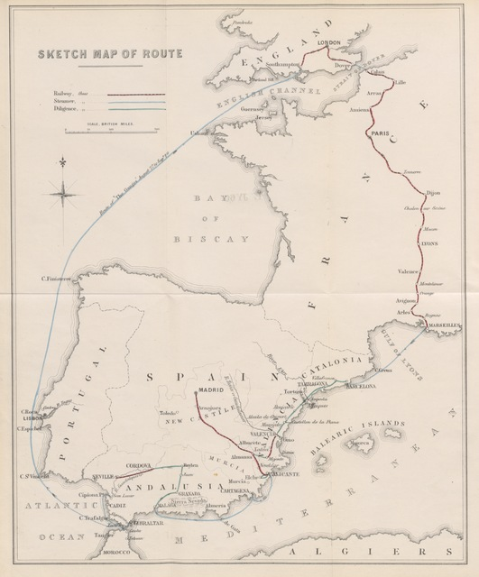 "map from ""Pen and Pencil Sketches of a Holiday Scamper in Spain. [With a map.]"""