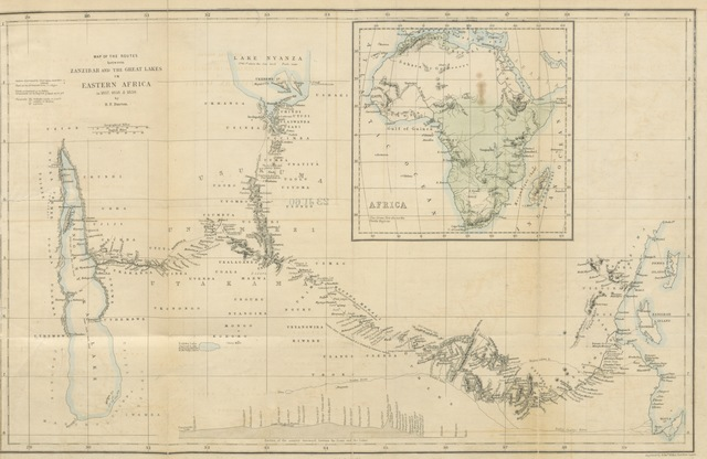 """map from """"The Lake Regions of Central Africa. A picture of exploration. [With plates.]"""""""