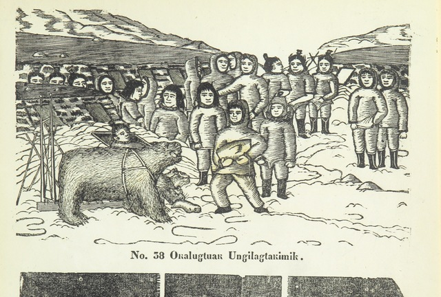 """People from """"Kaladlit Assilialiait; or, Woodcuts drawn and engraved by Greenlanders. [With coloured duplicates of Nos. 1 and 2.]"""""""