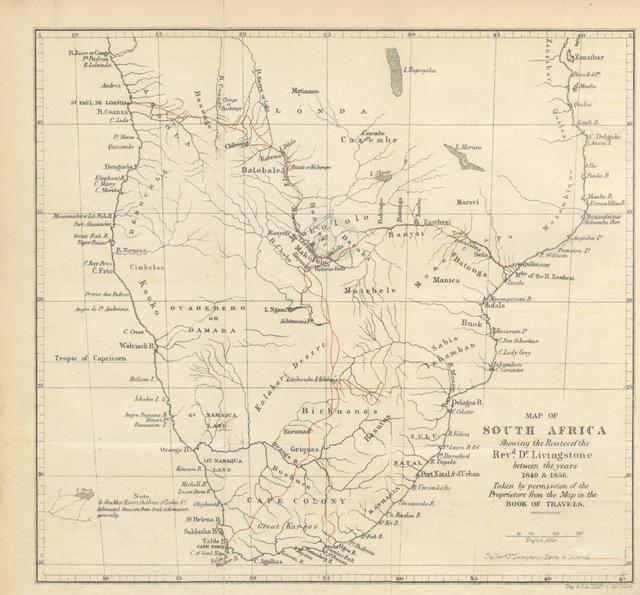 """routes from """"[Dr. Livingstone's Cambridge lectures, together with a prefatory letter by the Rev. Professor Sedgwick ... Edited with introduction, life of Dr. Livingstone, notes and appendix, by the Rev. William Monk, etc.]"""""""