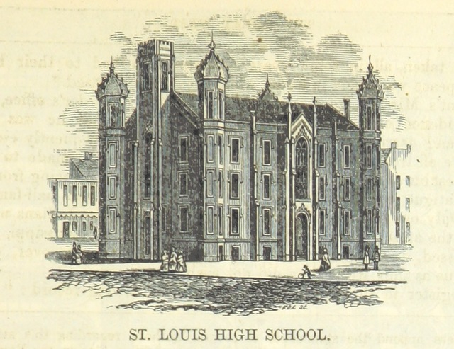 "St. Louis High School from ""Edwards's Great West and her Commercial Metropolis, embracing a general view of the West, and a complete history of St. Louis ... With portraits and biographies of ... old settlers, etc"""