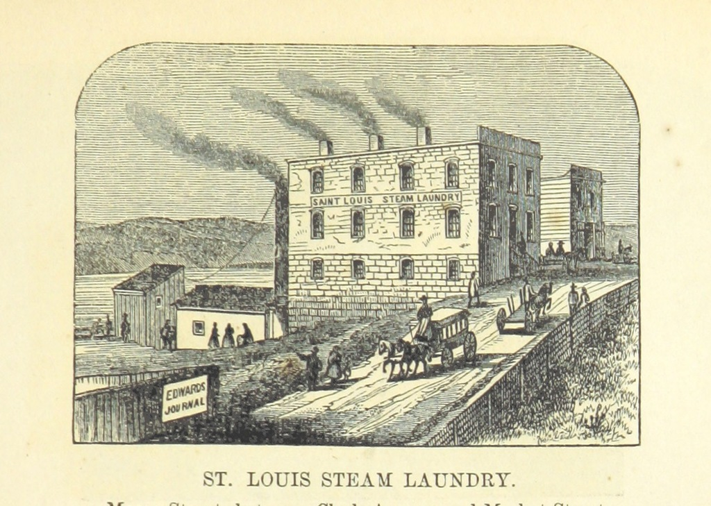 """St. Louis Steam Laundry from """"Edwards's Great West and her Commercial Metropolis, embracing a general view of the West, and a complete history of St. Louis ... With portraits and biographies of ... old settlers, etc"""""""