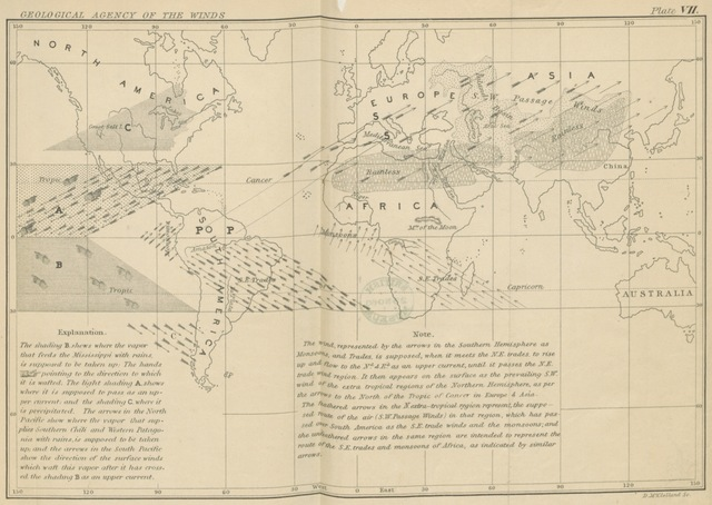 """world from """"The Physical Geography of the Sea, and its Meteorology. Being a reconstruction and enlargement of the eighth edition of """"The Physical Geography of the Sea."""" Illustrated with numerous charts and diagrams"""""""