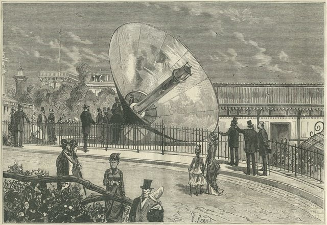 Solar cooker designed by Auguste Mouchot in the gardens of the Tuileries in Paris. Auguste Mouchot took out a patent in 1861 on a solar cooker that is considered the first practical attempt to use the sun as a heat source for cooking different cooking.