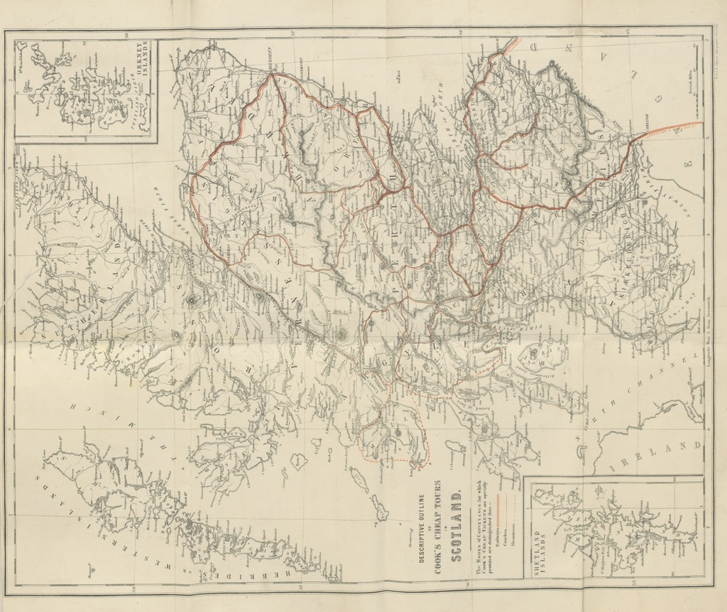 """map from """"Cook's Scottish Tourist Official Directory. A guide to the system of tours in Scotland, under the direction of the principal railway, steamboat, & coach companies ... With a series of new sectional maps, drawn and engraved ... by W. and A. K. Johnston. (Appendix. Twenty Years on the Rails: reminiscences of excursions and tours in England, Ireland, Scotland, Wales, the Channel Islands, on the Continent, etc.)"""""""