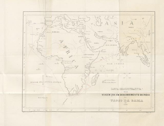 """map from """"[Roteiro da viagem que em descobrimento da India pelo Cabo da Boa Esperança fez Dom. V. da G. em 1497. [By A. Velho?] Publicado por D. Kopke e A. da Costa Paiva.]"""""""