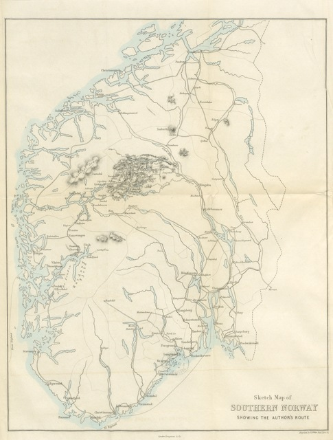 "map from ""Wild Life on the Fjelds of Norway. [With chromo-lithographs and maps.]"""