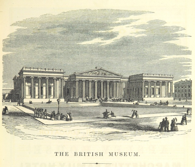 "British Museum from ""The Traveller's Album and Hotel Guide: containing views of places and buildings of historical and general interest, with descriptive letterpress; an account of the principal railways out of London, etc"""