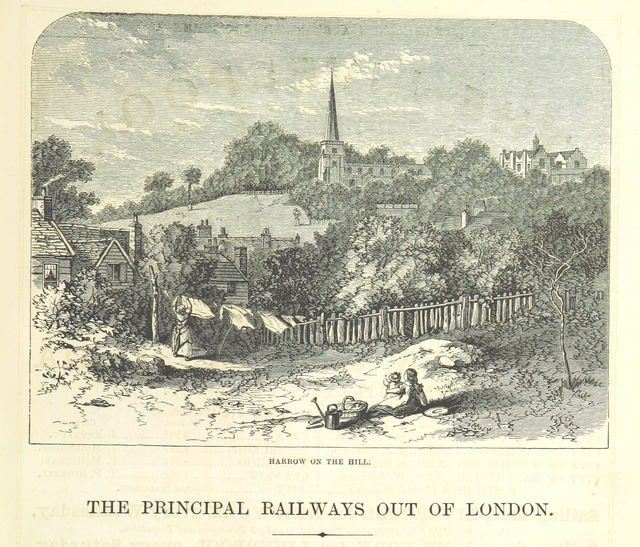 "Harrow from ""The Traveller's Album and Hotel Guide: containing views of places and buildings of historical and general interest, with descriptive letterpress; an account of the principal railways out of London, etc"""
