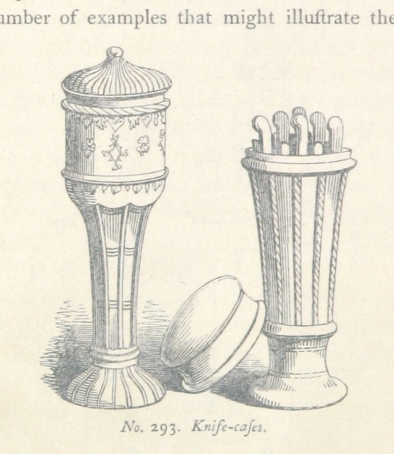 """Knife-cases from """"A History of Domestic Manners and Sentiments in England during the Middle Ages ... With illustrations from the illuminations in contemporary manuscripts and other sources, drawn & engraved by F. W. Fairholt"""""""