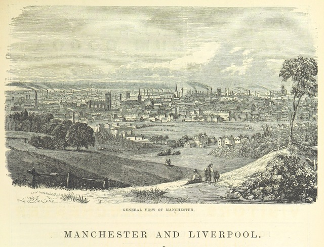 "Manchester from ""The Traveller's Album and Hotel Guide: containing views of places and buildings of historical and general interest, with descriptive letterpress; an account of the principal railways out of London, etc"""