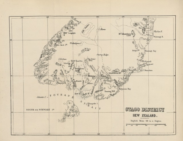 """map from """"Handbook to Otago and Southland (New Zealand). With map"""""""