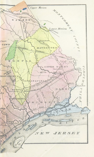 """map from """"History of Delaware County, Pennsylvania, from the discovery of the territory included within its limits, to the present time. With a notice of the geology of the county, and catalogues of its minerals, plants, quadrupeds, and birds. Written under the direction ... of the Delaware County Institute of Science. (Appendix.)"""""""