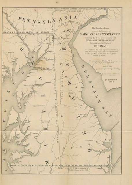 "map from ""[Message from the Governor of Maryland [Philip Francis Thomas] transmitting the reports of the Joint Commissioners, and of Lt. Col. Graham, U. S. Engineers, in relation to the intersection of the boundary lines of the States of Maryland, Pennsylvania, and Delaware.]"""