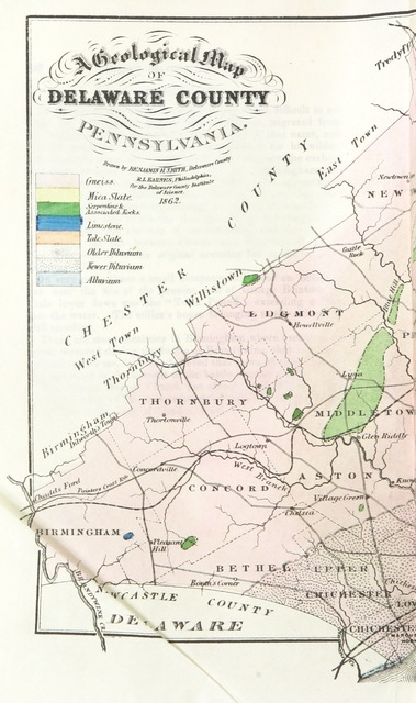 """Pennsylvania from """"History of Delaware County, Pennsylvania, from the discovery of the territory included within its limits, to the present time. With a notice of the geology of the county, and catalogues of its minerals, plants, quadrupeds, and birds. Written under the direction ... of the Delaware County Institute of Science. (Appendix.)"""""""