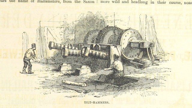 "tilt hammer from ""The Traveller's Album and Hotel Guide: containing views of places and buildings of historical and general interest, with descriptive letterpress; an account of the principal railways out of London, etc"""