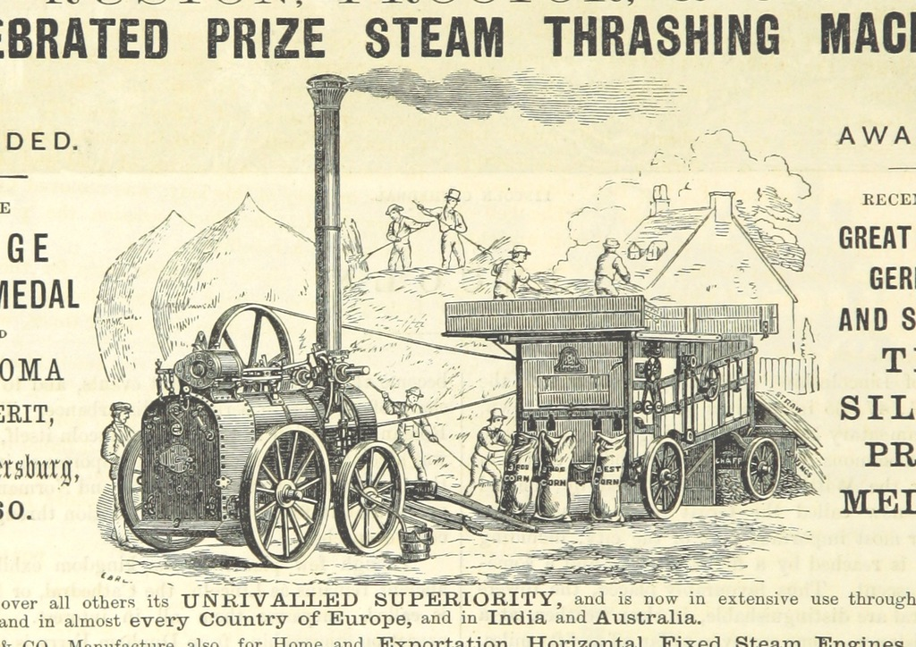 "traction engine from ""The Traveller's Album and Hotel Guide: containing views of places and buildings of historical and general interest, with descriptive letterpress; an account of the principal railways out of London, etc"""