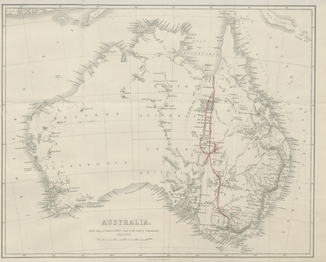"""map from """"A successful exploration through the interior of Australia, from Melbourne to the Gulf of Carpentaria. From the journals and letters of W. J. W. Edited by ... W. Wills"""""""