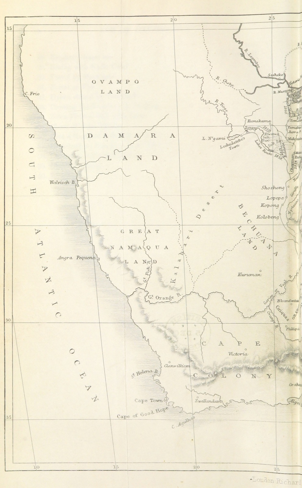 Map From African Hunting From Natal To The Zambesi Including Lake