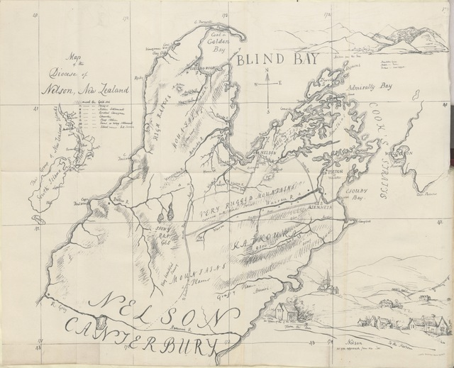 """map from """"An Account of the Diocese of Nelson, New Zealand"""""""