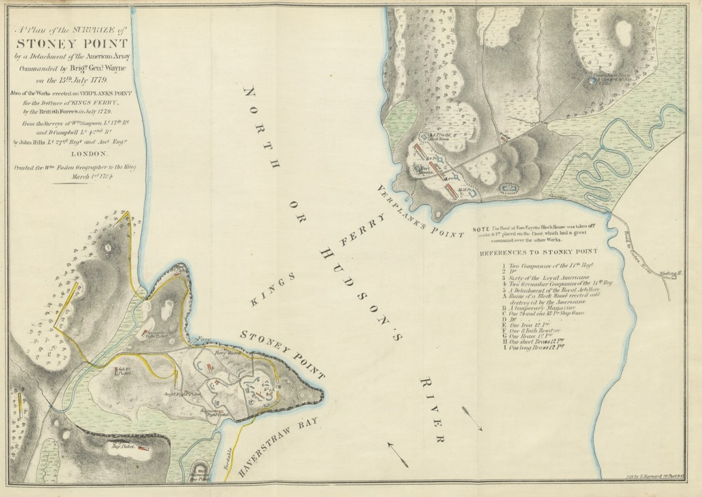 """map from """"[The Assault on Stony Point, by General Anthony Wayne, July 16, 1779. Prepared for the New York Historical Society, and read at its regular monthly meeting, April 1, 1862, with a map, fac-similes, and illustrative notes.]"""""""