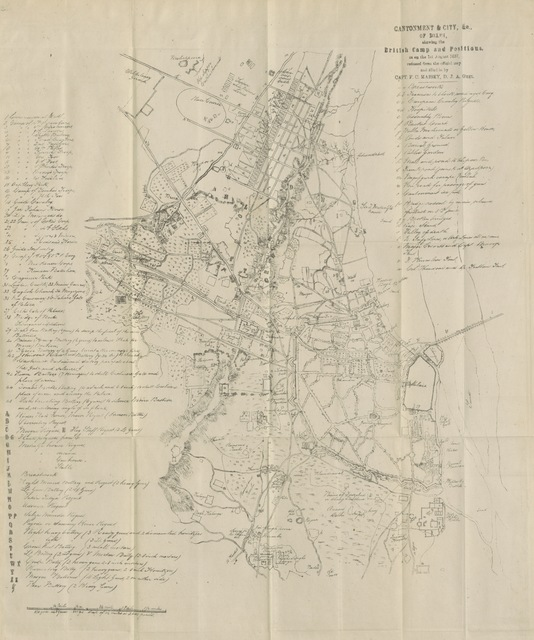 "map from ""The Handbook for Delhi. With large additional matter ... on the historic remains and points of modern interest in Delhi, with original contributions from D. B. Smith ... and Lieut. de Kantzow ... With index appendices and two maps ... By Frederick Cooper"""