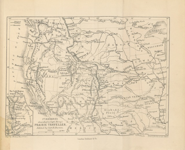 """map from """"The Prairie Traveller, a hand-book for overland expeditions. With illustrations, and itineraries of the principal routes between the Mississippi and the Pacific, and a map ... Edited by R. F. Burton"""""""