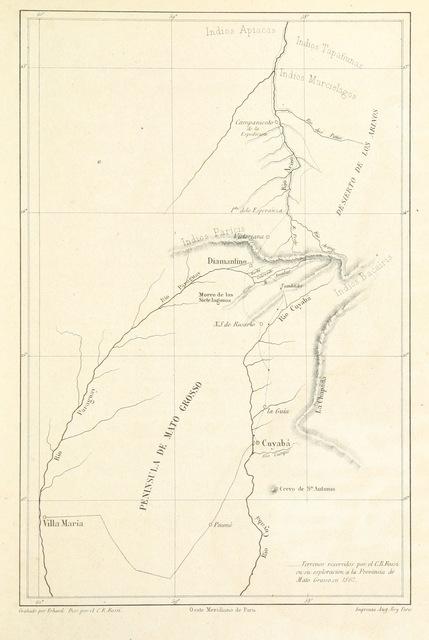 """map from """"Viage pintoresco por los rios Paraná, Paraguay, Sⁿ Lorenzo, Cuyabá y el Arino tributario del grande Amazonas. Con la descripcion de la provincia de Mato Grosso, etc"""""""