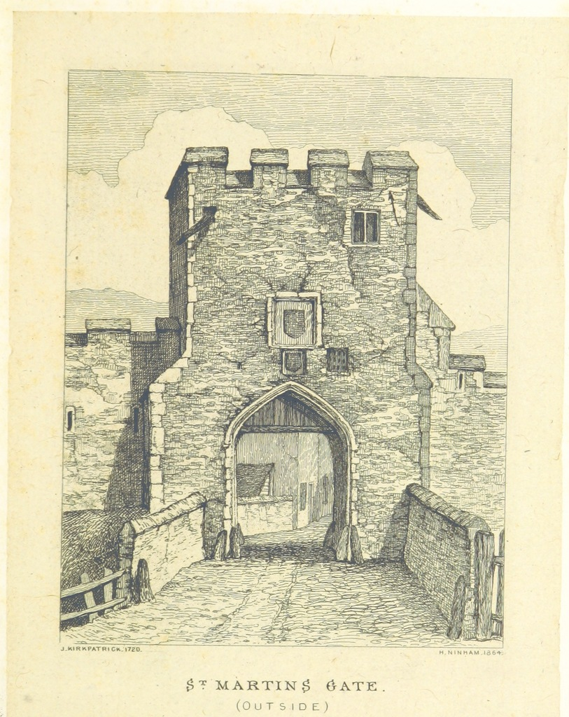 """Architecture from """"Views of the Ancient City Gates of Norwich, as they appeared in 1722. Drawn and etched by Henry Ninham, from original sketches by John Kirkpatrick. With historical notices by Samuel Richardson"""""""