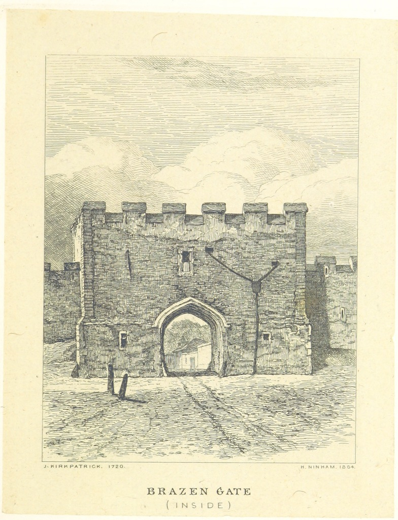 "Architecture from ""Views of the Ancient City Gates of Norwich, as they appeared in 1722. Drawn and etched by Henry Ninham, from original sketches by John Kirkpatrick. With historical notices by Samuel Richardson"""