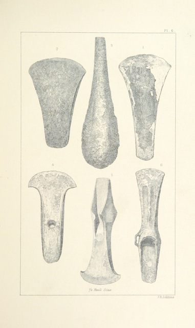 "axe heads from ""The Upper Ward of Lanarkshire described and delincated. The archæological and historical section by G. V. Irving. The statistical and topographical section by A. Murray"""