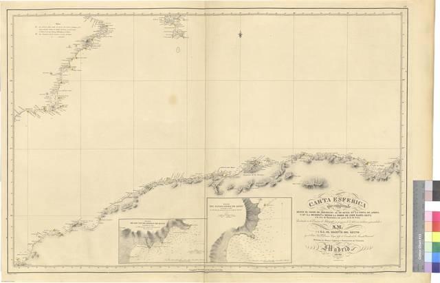 Carta esferica que comprende desde el golfo de Tremecen al de Bugia en la costa de Africa y en la de España desde la torre de Cope hasta Oliva y la isla de Formentera con parte de la de Iviza