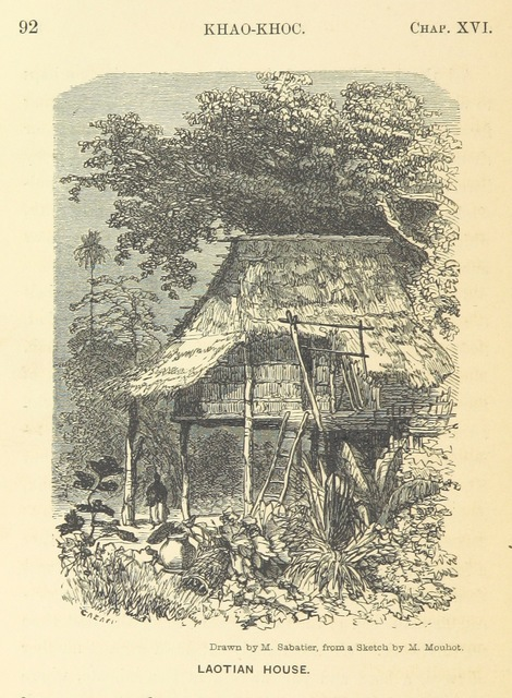 "Laotian house from ""Travels in the central parts of Indo-China, Cambodia, and Laos, during the years 1858, 1859, and 1860. (Memoir of H. Mouhot [by J. J. Belinfante. Edited by C. Mouhot].) With illustrations"""