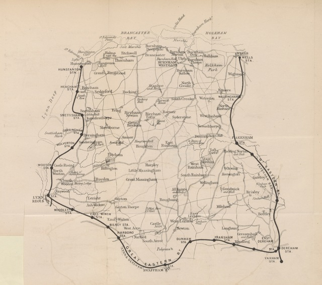 """map from """"Hunstanton and its neighbourhood: being a guide to the Lynn and Hunstanton Railway Line"""""""