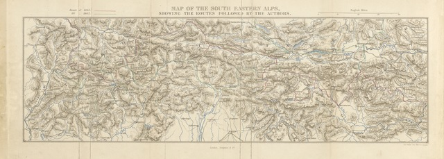 "map from ""The Dolomite Mountains. Excursions through Tyrol, Carinthia, Carniola, & Friuli in 1861, 1862, & 1863. With a geological chapter, and pictorial illustrations from original drawings on the spot"""