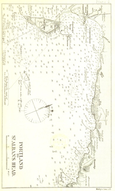 "map from ""The Pilots' Handbook for the English Channel; containing concise directions for entering and navigating the Channel ... Illustrated by plates"""