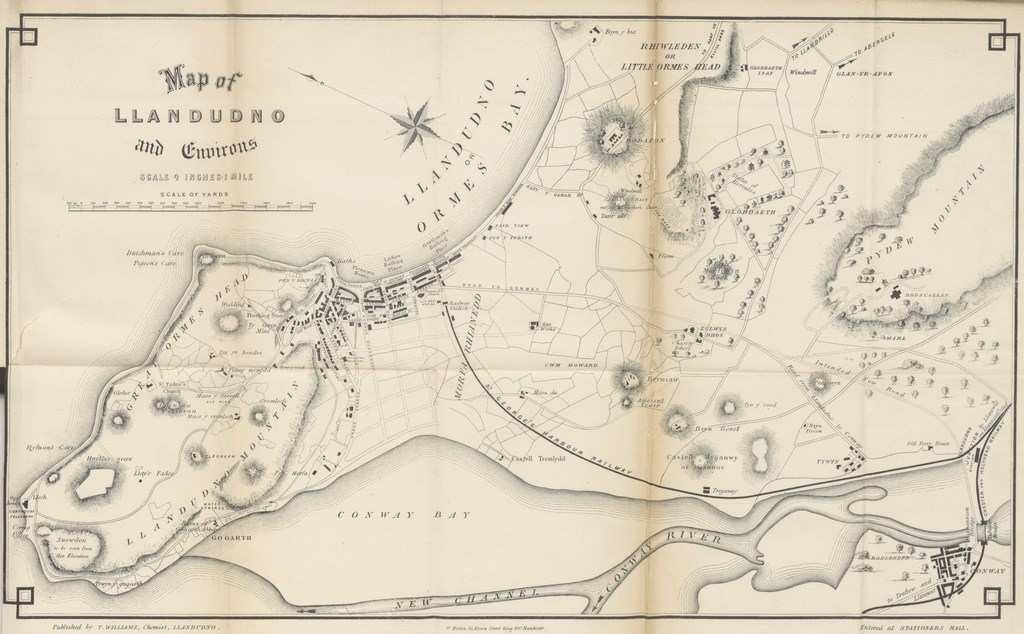 """map from """"William's complete guide to Llandudno. The ninth thousand of Llandudno; its history and natural history ... illustrated"""""""