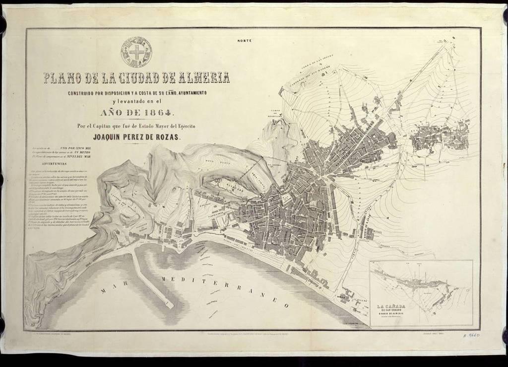 Plano de la ciudad de Almería construido por disposición y a costa de su Exmo. Ayuntamiento...