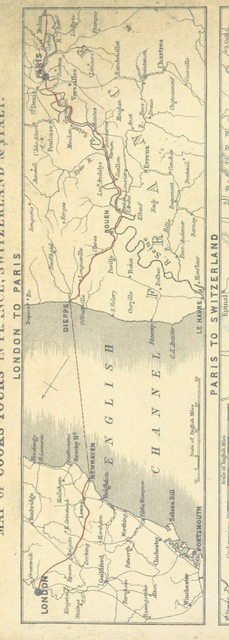 """map from """"Guide to Cook's Excursions to Paris; and Directory of Excursions and Tours in Switzerland & Italy. Compiled by T. Cook, etc. [With a map.]"""""""