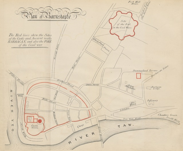 """map from """"Sketches of some Striking Incidents in the History of Barnstaple, being the substance of a lecture, etc"""""""