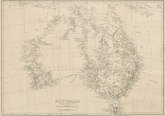 """map from """"The History of Discovery in Australia, Tasmania, and New Zealand, from the earliest date to the present day ... With maps of the recent explorations"""""""