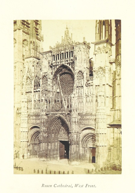 """Rouen Cathedral from """"Normandy, its Gothic Architecture and History: as illustrated by twenty-five photographs from buildings in Rouen, Caen, Mantes, Bayeux, and Falaise. A sketch"""""""