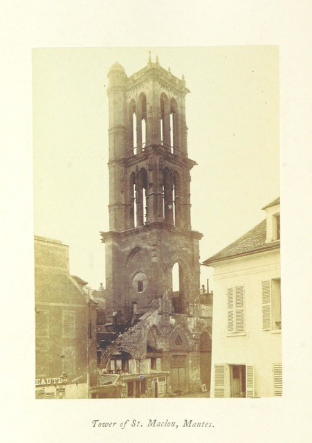 """tower from """"Normandy, its Gothic Architecture and History: as illustrated by twenty-five photographs from buildings in Rouen, Caen, Mantes, Bayeux, and Falaise. A sketch"""""""