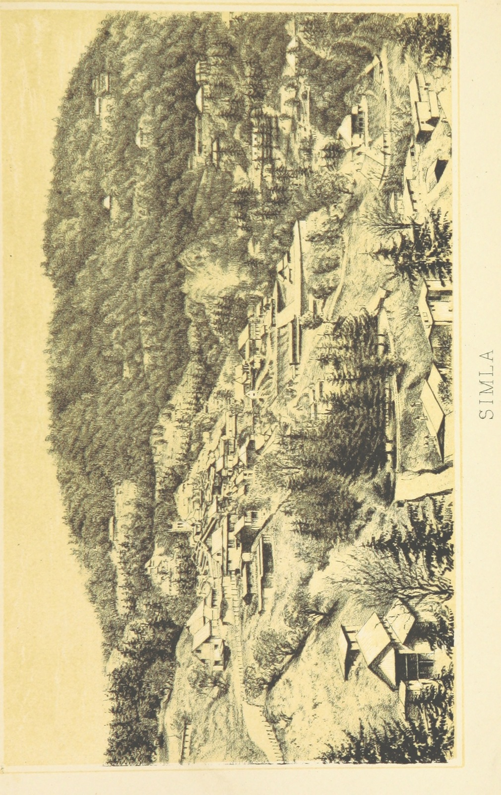 "city in the Indian state of Himachal Pradesh from ""From Calcutta to the Snowy Range; being the narrative of a trip through the Upper Provinces of India to the Himalayas ... By an Old Indian. With eight coloured illustrations and a map. [The preface signed; F. F. W., i.e. Frederick W. Wyman.]"""