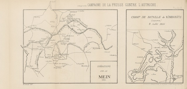 """map from """"Campagnes de la Prusse contre l'Autriche et ses alliés en 1866. Ouvrage traduit de l'allemand avce des documents inédits et deux cartes autographiques par Furcy Raynaud"""""""