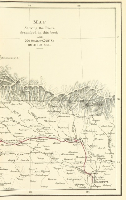 "map from ""From Calcutta to the Snowy Range; being the narrative of a trip through the Upper Provinces of India to the Himalayas ... By an Old Indian. With eight coloured illustrations and a map. [The preface signed; F. F. W., i.e. Frederick W. Wyman.]"""