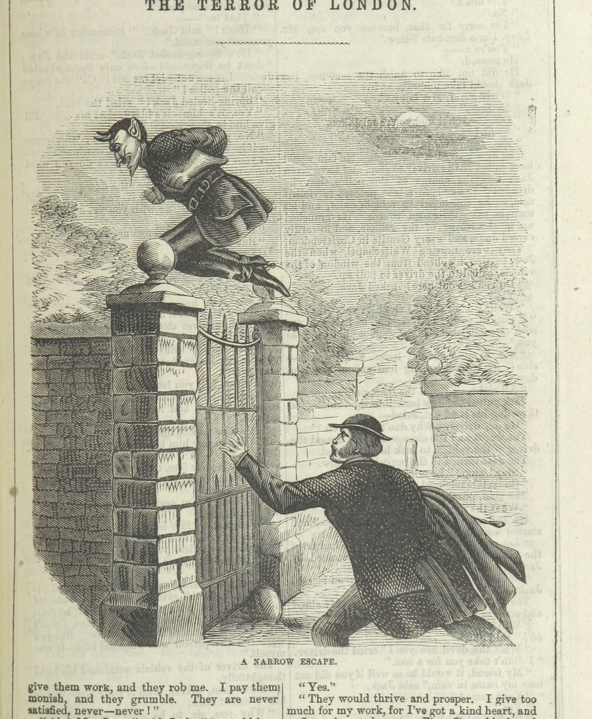 """A narrow escape from """"Spring-heel'd Jack: the Terror of London. A romance of the nineteenth century, by the author of the """"Confederate's Daughter"""" ... Illustrated, etc"""""""